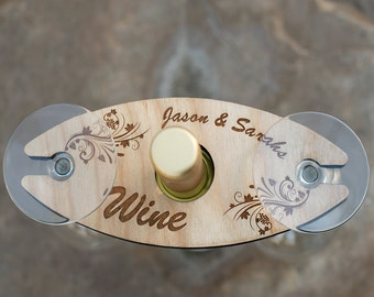 Personalized Wine Caddy With Flower Engraving