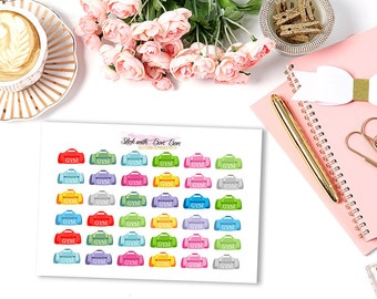 Gym Bag rainbow colour planner stickers || Erin Condren Life Planner, Kikki K, Plum Paper Planner