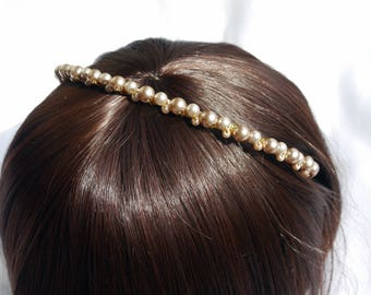 Champagne Pearl Bridesmaid Tiara, pearl wedding Hair accessory, pearl headband, gold and pearl bridesmaids hair band, Bridesmaid Headpiece