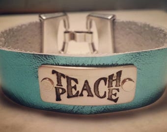 Teach peace leather bracelet with silver and pewter