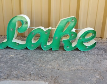 lighted lake sign. metal lake sign. marquee lake sign. lake signs. rustic lake sign