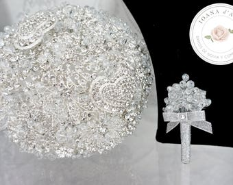 Bridal brooch bouquet, Beautiful bridal bouquet made with silver brooches and crystal beads