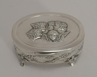 Antique English Sterling Silver Jewelry Box - Reynold's Angels - 1903