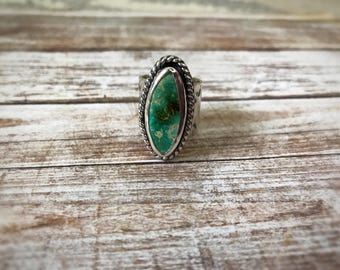 Royston Turquoise Ring, Statement Ring, Boho Ring, Handmade, Sterling Silver, Size 6.5,Wide Band, Handstamped Ring, Turquoise Jewelry