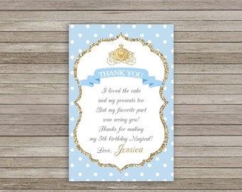 Cinderella Thank You Card, Cinderella Birthday Party, Princess Thank You Card Printable, Cinderella Thank You Tags, Princess Birthday Party