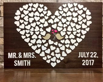 Wedding Heart Guest Book/sign/wood sign/laser engaved/painted/sealed