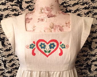Vintage 1970s Pinafore Dress Hand Painted Dress White Pinafore Hippie Boho Festival Dress