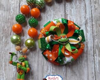 Orange Ninja Turtle Necklaces,Ninja Turtle Necklaces,Orange and Green Ninja Turtle Necklaces,Michelangelo hair bow,Ninja Turtle Necklaces.