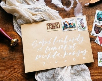 Modern, fun brush lettering calligraphy envelopes for wedding / event / party / invitations