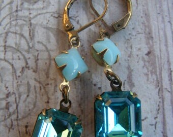Art Deco Vintage Style Brass and Aqua Blue Glass Drop Earrings