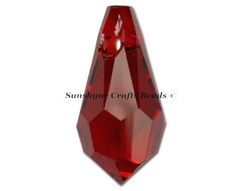 Swarovski Crystal Beads 6000 2pcs SIAM Teardrop Faceted Pendant - Sizes 11mm, 13mm & 15mm available