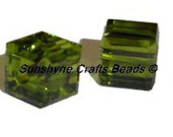 Swarovski Crystal Beads 2 Pcs 5601 OLIVINE 6MM Faceted Cube Elements Bead