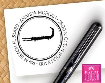 Preppy Alligator Pre Inked Round Stamp - Personalized Return Address Stamper - Black Self Inking Custom Stamp - New Home Gift