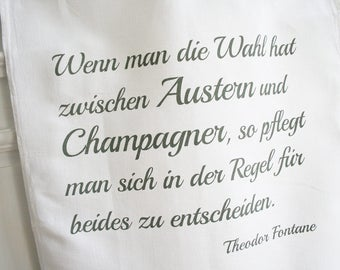 "Dishcloth ""Oyster"", quote Theodor Fontane, grey on white, half line, gift for gourmets"