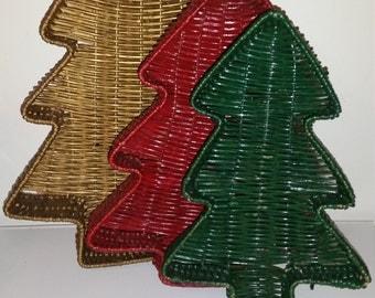 Vintage Christmas Tree Wicker Baskets / Christmas Trees / Set of 3 / Nesting Baskets / Christmastime / Christmas Gift / Christmas Decor /CIJ