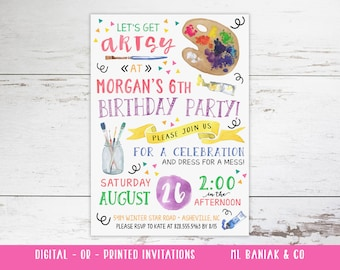 Art Party Invitation, Art Birthday Party, Painting Party Custom Invitations // Printed or Digital //