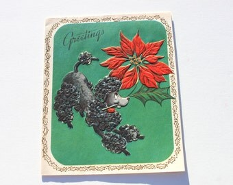Vintage French Black Poodle Christmas Card, Unused Embossed 50s 1950s Cute Puppy Dog Holiday Card