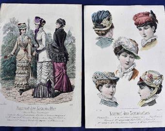 Handcoloured Fashion Print, Journal des Demoiselles, Mode de Paris 1880 x 2