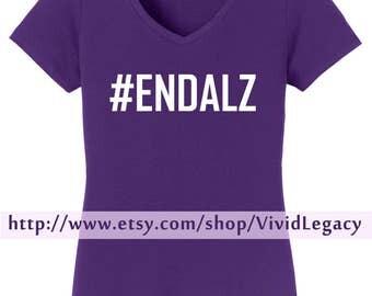 SALE: ENDALZ in White Glitter!  Womans V-Neck Shirt #ENDALZ Alzheimer's Shirt