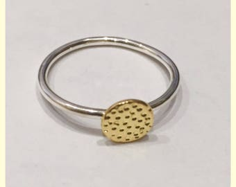 Silver/Gold Hammer Disc Ring