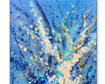 """FREE SHIPPING_Bursting Cosmo Blooms I 20x20"""" Original Painting on Unstretched Canvas"""