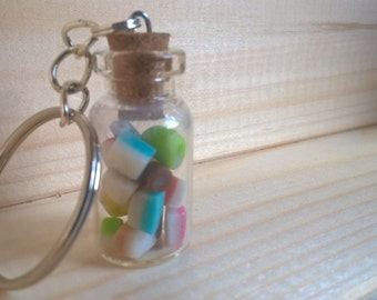 Sweet Jar Key Chain, Dolly Mixture In Minature Bottle