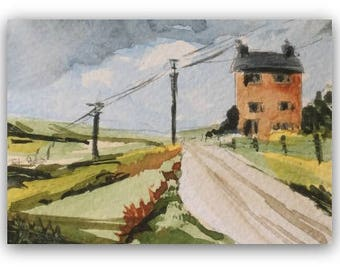 """Landscape painting ORIGINAL Miniature Watercolour Painting """"Saddleworth House"""" ACEO  English Countryside Home Decor Gift Idea Wall Art"""