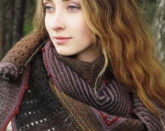 """Knit shawl - handmade shawl - wool brown shawl - triangular shawl - big knit kerchief - knit wool shawl - hand knitted shawl """"Earth gravity"""""""