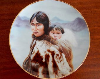 "Vintage Artaffects Collector Plate ""Little Shadow"" 9 1/2"" Plate, Native American Plate, The Mother's Love Series Plate Collection"