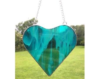 Stained Glass Blue/green Heart Suncatcher Decoration