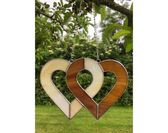 Stained Glass Brown and Cream Linked Hearts Suncatcher Decoration