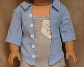 Blue Collared Shirt with Buttons ~ Handmade to fit like American Girl Doll Clothes, 18 inch doll clothes