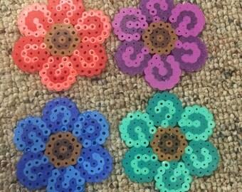 Flower Perler on a Keychain or Kandi bracelet