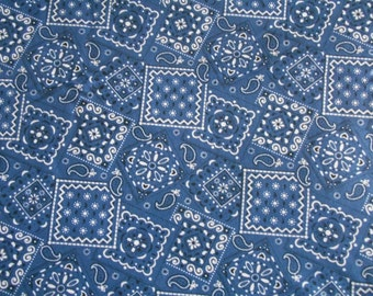 Navy Bandana cotton fabric by the yard