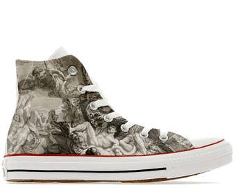 Angels and demons illustrated custom converse high top shoes