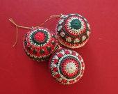 Crochet Christmas Baubles set of 3 handmade ornaments festive seasonal yule decoration