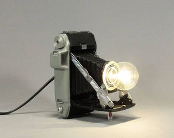 Folding Camera Lamp / Photographer Gift/ Desk Lamp/ Table Lamp/ Accent Lamp/ Vintage Camera/ Upcycled lamp