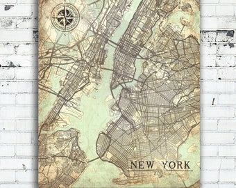 NEW YORK City Canvas Print Vintage map NYC New York City Ny Vintage map New York Wall Art New York City Nyc poster Vintage retro old gift Ny