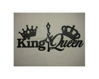 King and Queen With Crowns Metal Wall Decor Set