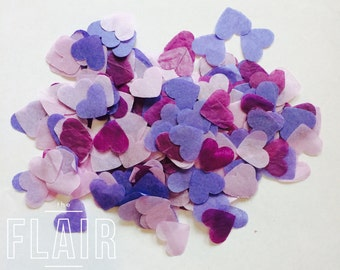 "Love Heart Purples & Lilac 1"" Tissue Confetti, Wedding, Party, Birthday"
