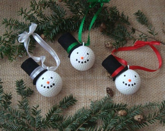 Set of 3 Snow Man Golf Ball Ornaments