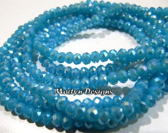 Amazing Aqua Blue Chalcedony Hydro Quartz Beads , Mystic Coated Rondelle Faceted 3-4mm Size Beads , Length 14 inches , Jewelry Beads .