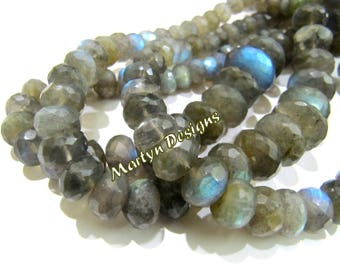 Graduated Blue Flashy Labradorite Beads , Rondelle Faceted Natural Labradorite Beads , 7 to 14mm size , Length 8 inch long, Israel cut Beads