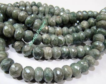 AAA Quality Genuine Green Silverite Gemstone , Rondelle faceted beads , Gorgeous quality size 7-9 mm , Strand 8 inches , Mystic Coated Beads