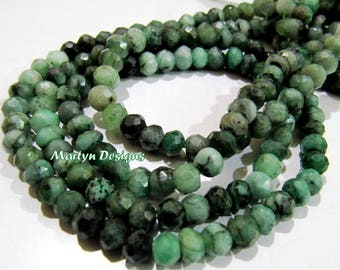 Finest Quality Natural Emerald Shaded Beads 5-6mm , Rondelle Faceted Emerald Beads , Strand 13 inches long , Precious Gemstone Beads.