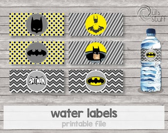 Printable Batman water bottle labels