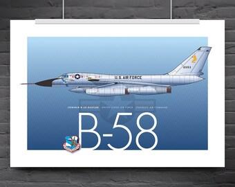 B-58 Hustler aircraft poster, aviation art print, 'yellow 2'