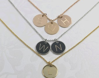 Custom Engraved Necklace: Coin Pendant Necklace, Monogram Pendant Necklace, Personalized Wedding Gifts, Initial Pendant Necklace