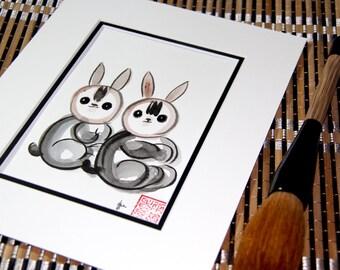 Zen Brush Art, Chinese Zodiac, Year of the Rabbit, Rabbit, Hare, Original Sumi Ink Painting, Chines zodiac, feng shui, birthday gift,