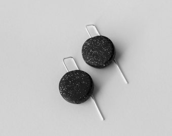 Black every day earrings. Hand shaped silver wire. Modern polymer clay jewelry.